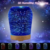 3D Star Firework LED Night Light Air Humidifier Glass Colorful Vase Shape Essential Oil Diffuser Mist Maker Decor
