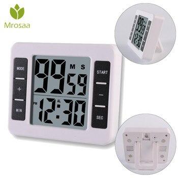 ไฟฟ้าจับเวลาครัวทำอาหารเบเกอรี่เครื่องมือแม่เหล็กตั้งขนาดใหญ่จอแสดงผล LCD นาฬิกา
