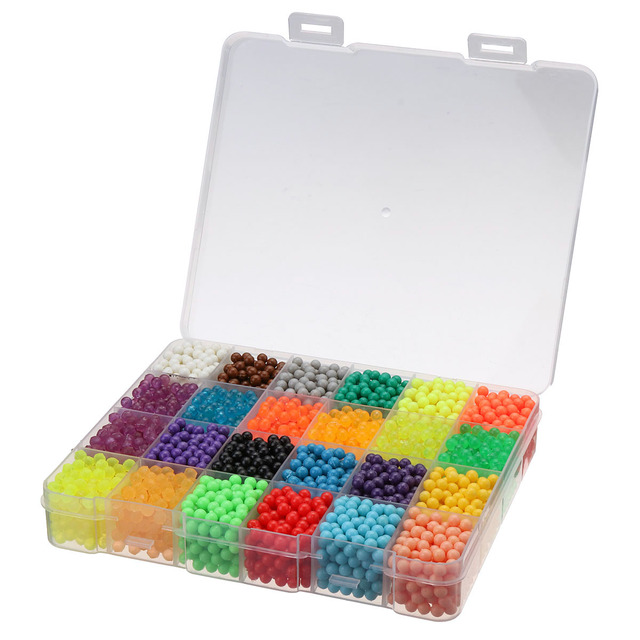 4500pcs 24 Colors Water Fuse Beads Kit Magic Water Sticky Pegboard Set Puzzle Education Toys Children Kids Good Gifts