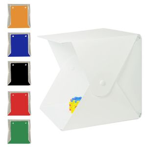 "Image 2 - 8"" Portable Photo Studio Light Box 2 LED Panels 6 Colors Backdrops Mini Foldable Photo Light Box Shooting Photography lightbox"