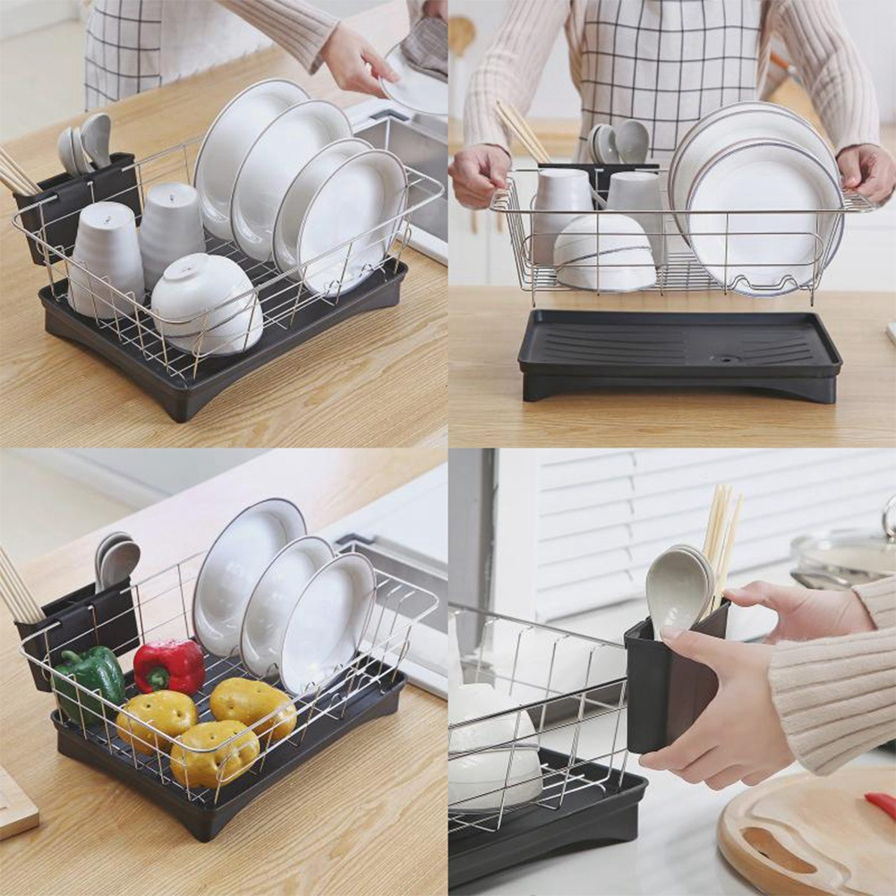 Image 2 - Stainless Steel Dish Drainer Drying Rack With 3 Piece Set Removable Rust Proof Utensil Holde For Kitchen Counter Storage Rack-in Racks & Holders from Home & Garden