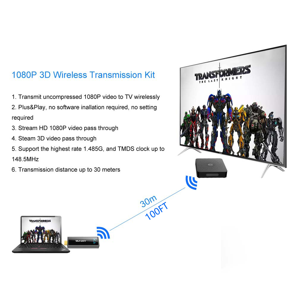 Image 5 - measy W2H MINI II Wireless HDMI Transmitter and Receiver HDMI Extender up to 30M/100Feet To Stream 1080P 3D Video wireless hdmi-in HDMI Cables from Consumer Electronics