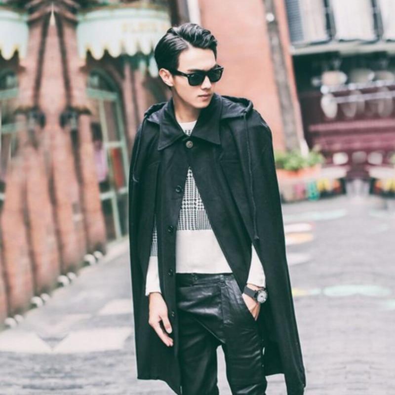 Men Clothing with A Hood Trench Cloak Outerwear Men's Bat Shirt Hooded Woolen Coat Long Loose Coat Windbreaker Steampunk Jacket
