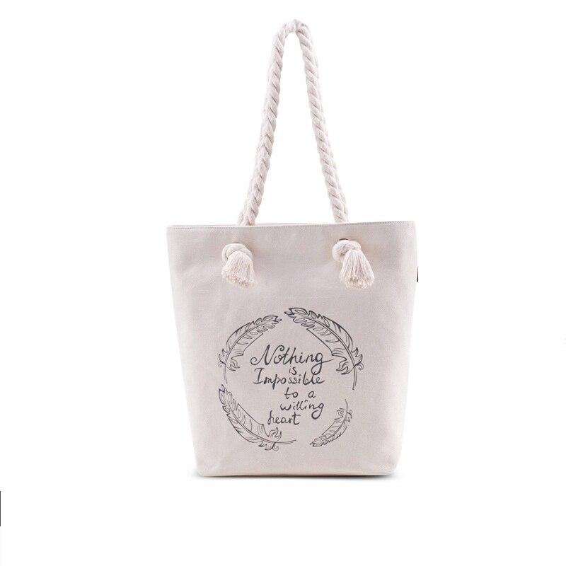 Nouveau 2017 Promotion produit toile corde poignée fourre-tout sac avec fermeture à glissière F2113