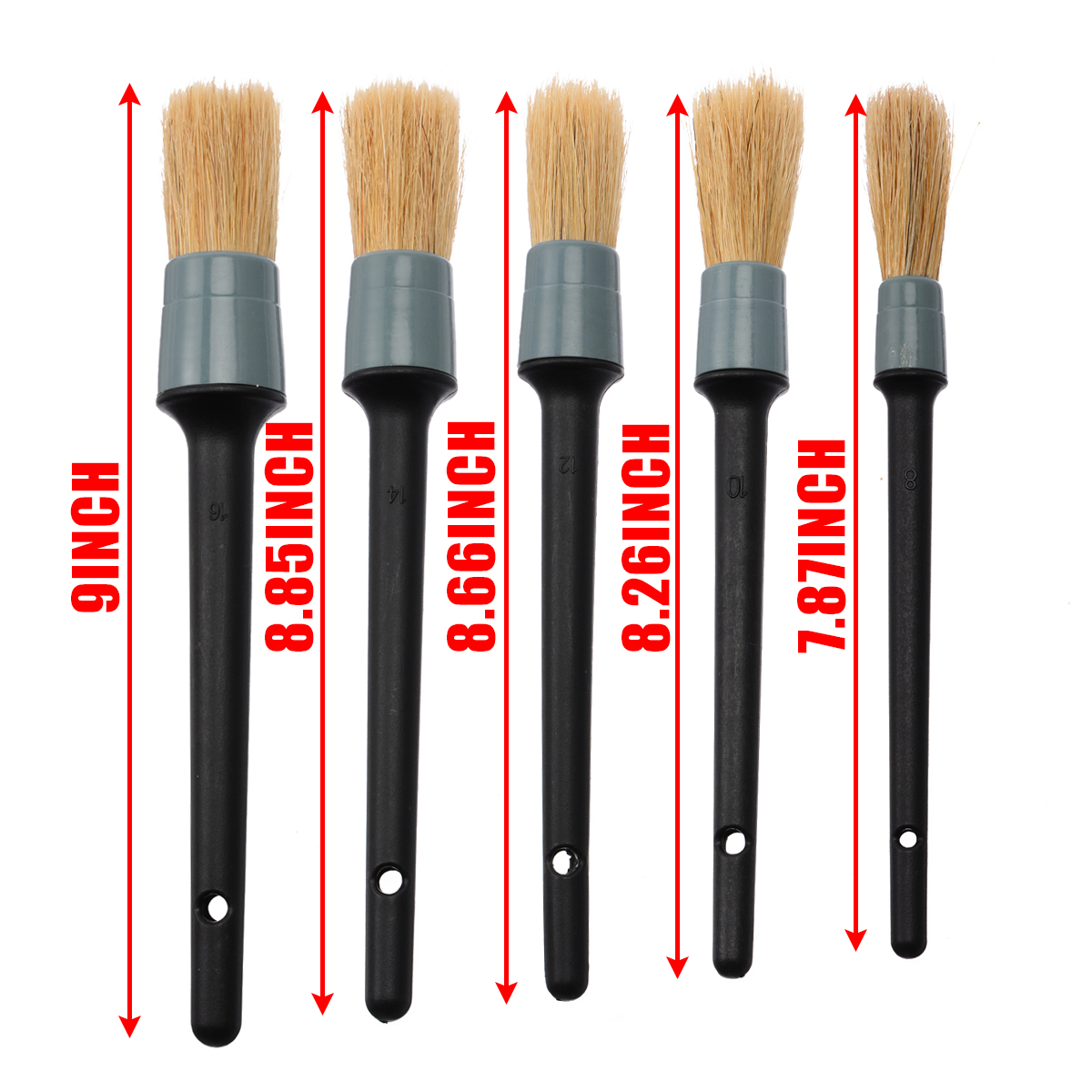 Image 4 - New Arrival 5pcs/set 5 Size Car Detailing Brush Cleaning Natural Boar Hair Brushes Auto Detail Tools-in Sponges, Cloths & Brushes from Automobiles & Motorcycles