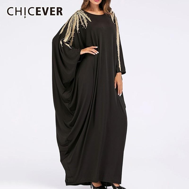 CHICEVER Beading Dresses Of The Big Sizes O Neck Batwing Sleeve Loose Oversize Long Dress Fashion