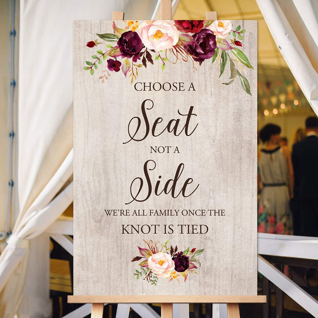 Wedding Welcome Sign.Us 19 79 10 Off Choose A Seat Not A Side Sign Pick A Seat Ceremony Sign Welcome Wedding Sign Wedding Welcome Signs Printable In Party Direction