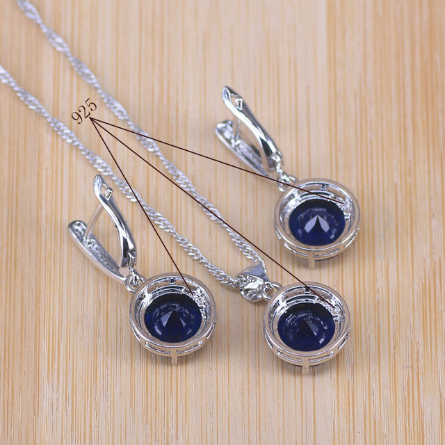 Bridal  Silver Color Jewelry Sets Blue Zirconia Stone Earrings For Women Wedding Jewelry With Ring Pendant Necklace 6