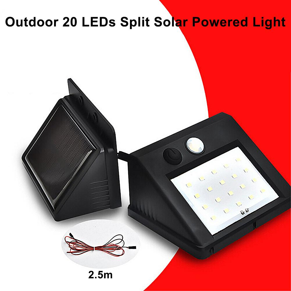 Outdoor 20 LEDs Split Solar Powered Light Bulb PIR Motion Sensor 3 Modes Waterproof Separate Garden Street Night Lamp Wall Light