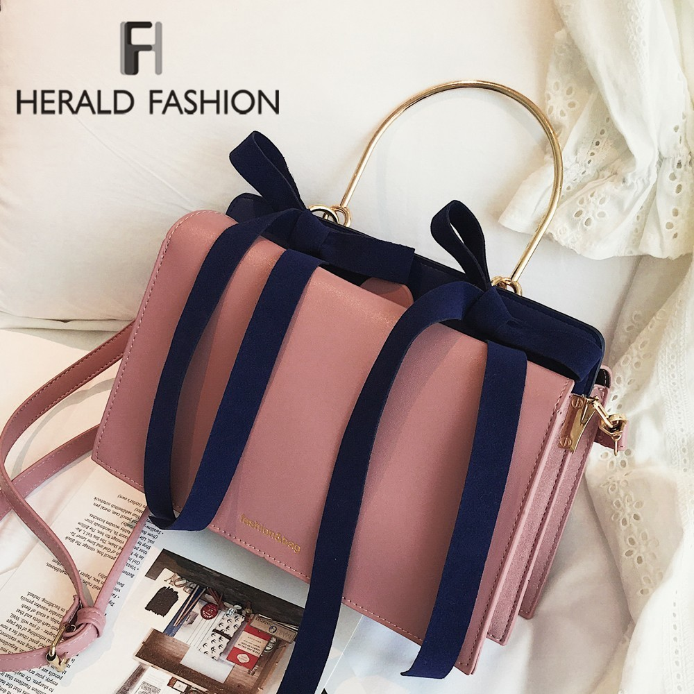 Herald Fashion Women Handbags Brand Design Leather Bags Bow Pendant Casual Solid Style Shoulder Bags Luxury Casual Tote Sac