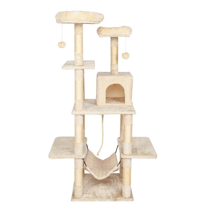 Augkun 60 cat tree tower com um condomínio duas plataformas sisal arranhando posts e rede pet house furniture cat torre de atividade