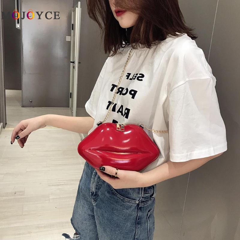 Solid Color Lips Shape Crossbody Bags For Women Fashion Chain Shoulder Bags Evening Party Clutch Lips Shaped Stylish PVC Materia