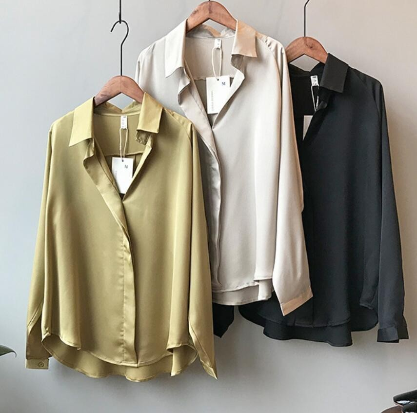 2019 Spring Women Korean Fashion Long Sleeves Satin   Blouse   Vintage Femme V Neck Street   Shirts   Elegant Imitation Silk   Blouse