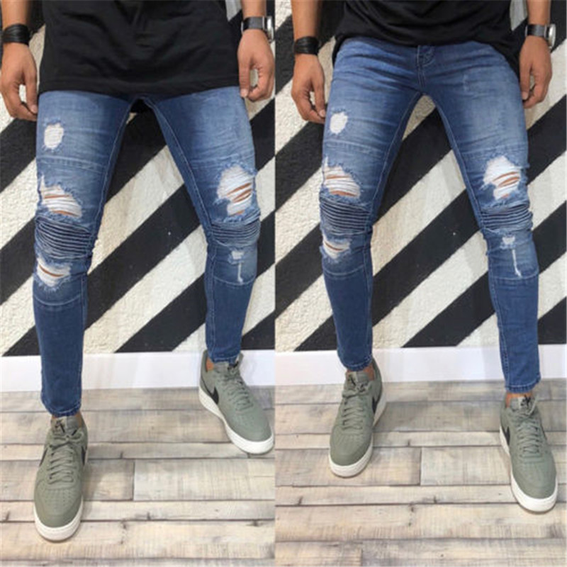 Men's Stretchy Ripped Skinny Biker   Jeans   Destroyed Taped Slim Fit Moustache Effect Zippers Denim Pants