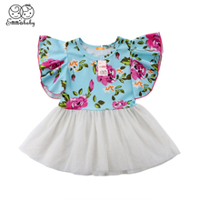 Emmababy Toddler Kids Baby Flower Pageant Princess Dress Girl Wedding Party Mesh