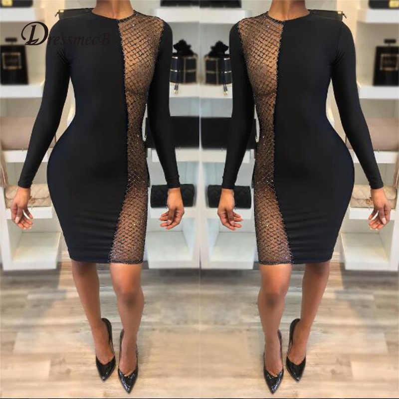 a408f1a41a black dress sexy patchwork mesh sequin transparent vestidos sukienka  fashion clothes frocks jurken long sleeve bodycon dresses