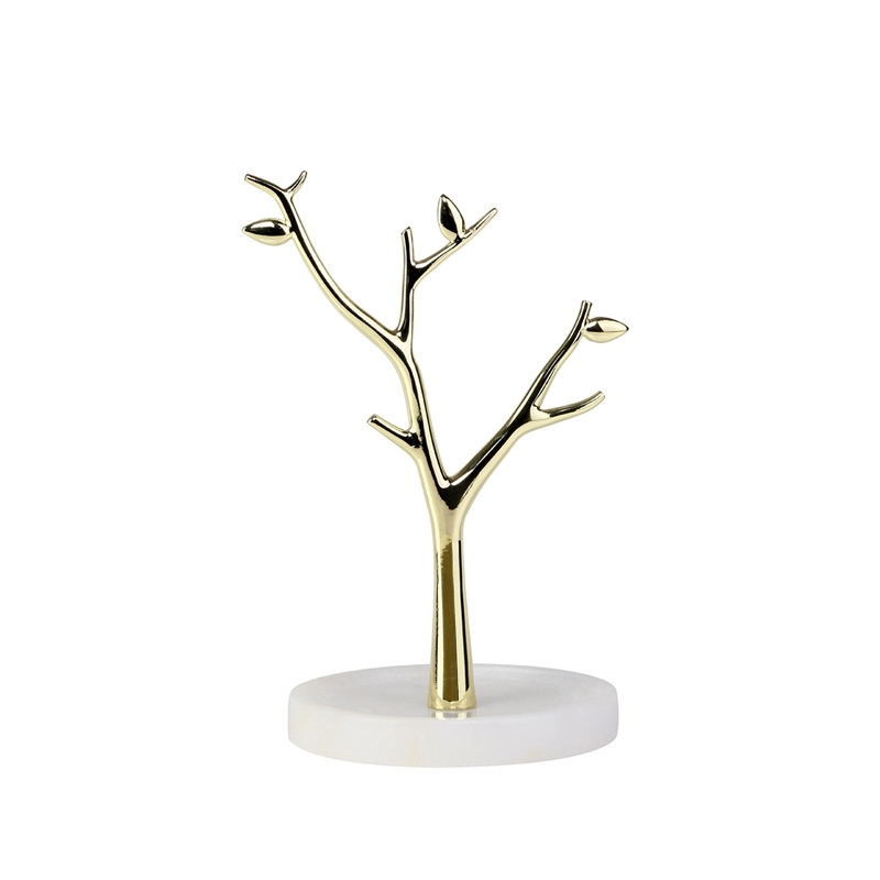 Golden Marble Jewelry Rack Desktop Creative Ornaments Ring Earrings Storage Tray Ins Jewelry Display Stand Holder Desk Decor