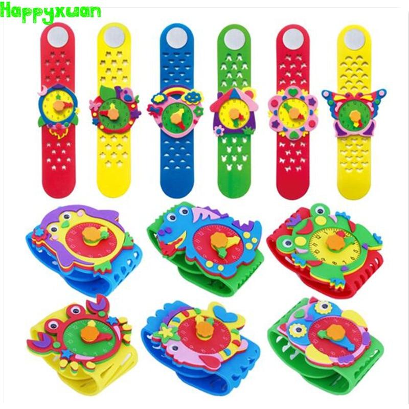 Happyxuan 12 Designs DIY 3D EVA Foam Craft Sticker Handmade Watch Clock Learning Kids Kindergarten Educative Games New Toys 2019