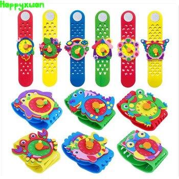 Happyxuan 12 Designs bricolage 3D EVA mousse artisanat autocollant à la main montre horloge apprentissage enfants maternelle jeux éducatifs nouveaux jouets 2019