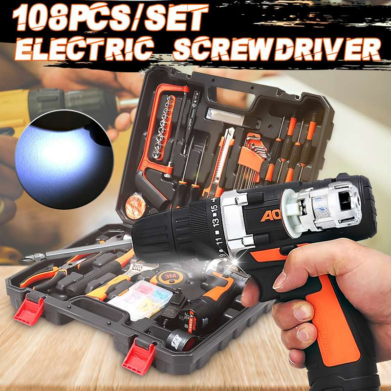 Portable 108Pcs/Set 12V Electric Screwdriver Cordless Drill Driver Power Tool LED Light with 2 x Battery for Wood MetalworkingPortable 108Pcs/Set 12V Electric Screwdriver Cordless Drill Driver Power Tool LED Light with 2 x Battery for Wood Metalworking