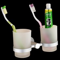 Houmaid Bathroom Accessories Glass Toothbrush Storage Cups With Space Aluminum Wall Mounted Holder Shower Room Hardware