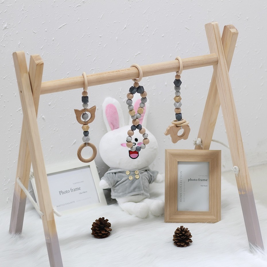 1 pc classique en bois bébé Gym sans Gym jouets activité Gym jouet accessoires Montessori hochets pépinière anneau de dentition étagère portique