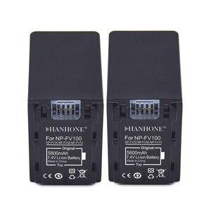 2PCS 5800mAh NP-FV100 NP FV100 Battery For SONY NP-FV30 NP-FV50 NP-FV70 SX83E SX63E FDR-AX100E XR550E XR350E CX550E CX350E