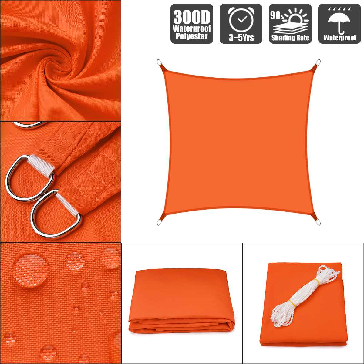 Orange Rectangle Waterproof Sun Shade Sails (300D/160GSM) – Sizes: 2.5×2.5m, 2.5x3m, 2x2m, 2x3m, 2x4m, 2x5m, 3.6×3.6m, 3x3m, 3x4m, 3x5m, 4x4m)