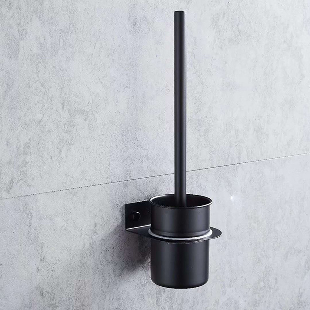 Toilet Brush Holders Portable Black Wall-Mounted Stainless Steel Toilet Brush Set Holder Clean Tools For Home Bathroom