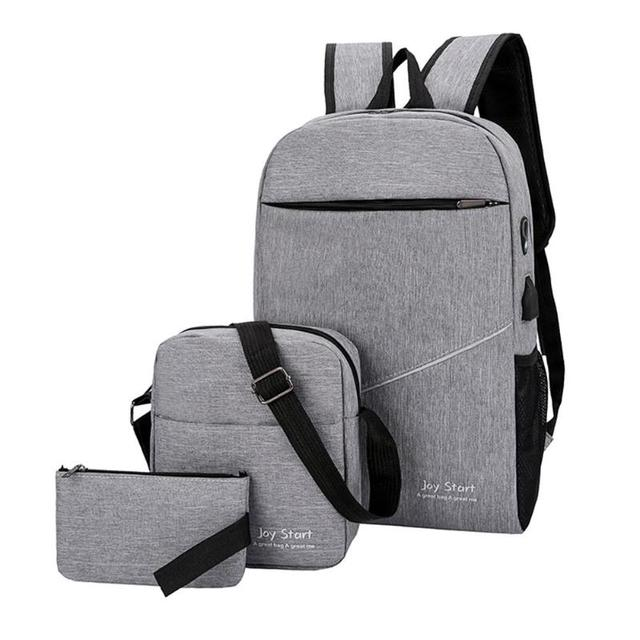 58ca7159a4c3 US $13.46 22% OFF|2019 USB Charging Canvas Backpack 3 Pcs/set Women School  Backpacks Schoolbag For Teenagers Man Student Book Anti Theft Bag Boy-in ...
