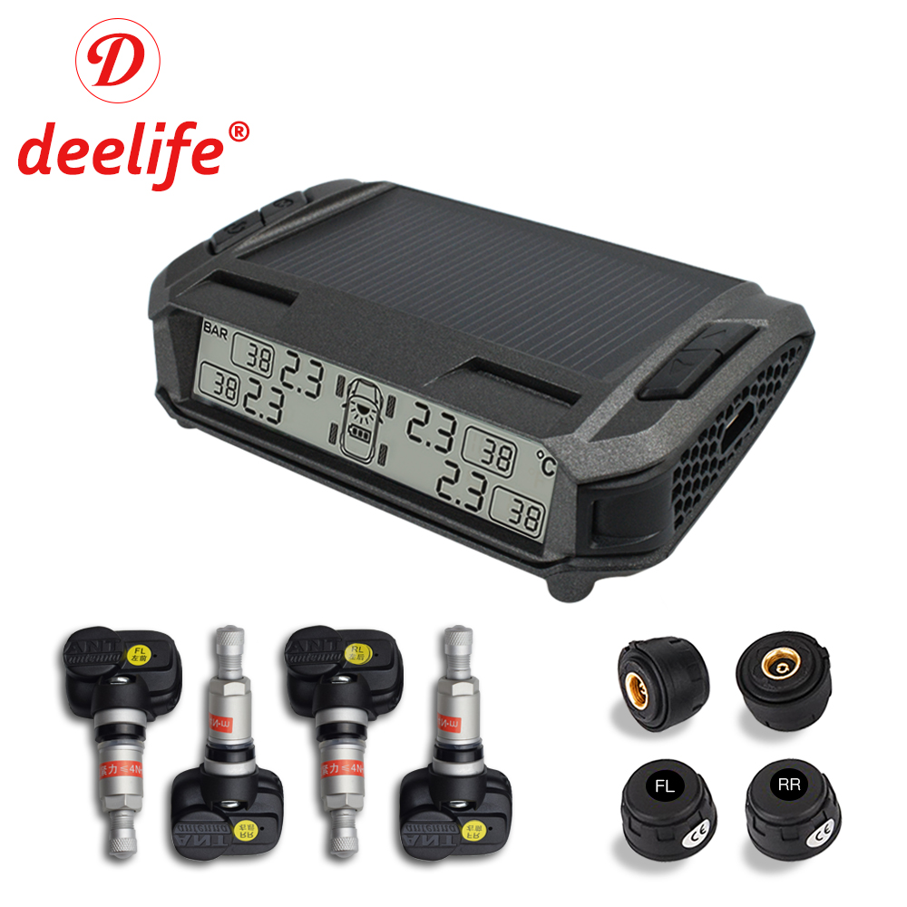 TPMS Car Tire Pressure Alarm Monitoring System Solar Wireless Tyre Pressure Monitor Auto TMPS External Internal Sensor Deelife jgrt car styling led fog lamp for acura ilx led drl daytime running light high low beam automobile accessories