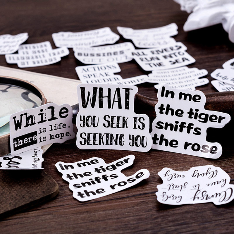 Creative English Word Stickers Vintage Stationery Stickers Adhesive Label Stickers For Kids DIY Decoration Diary Scrapbooking