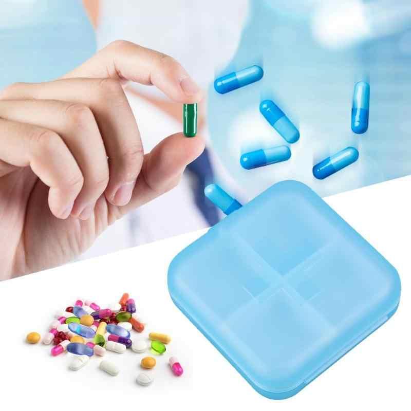 4 グリッドピルボックス医薬品タブレット医学収納ホルダースプリッタケース収納オーガナイザーコンテナケース