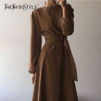 TWOTWINSTYLE Korean Black Dresses Female High Waist Lantern Long Sleeve Bandage Midi Dress For Women 2019 Autumn Fashion New