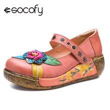 Socofy, zapatos planos estilo bohemio Vintage para mujer, zapatos de plataforma informales de Primavera Verano de cuero genuino Retro para mujer, zapatos con gancho y zapatos planos de lazo