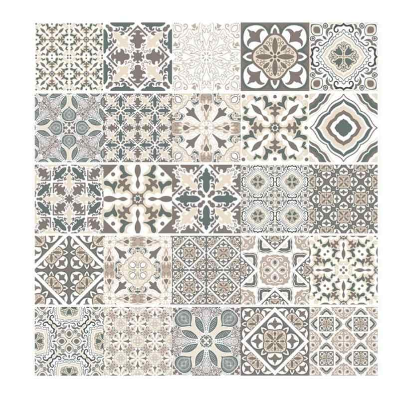 Retro Tiles Wall Stickers for Bathroom kitchen Tile Stickers Decor Adhesive Waterproof PVC Wall Stickers Kitchen Waist Line