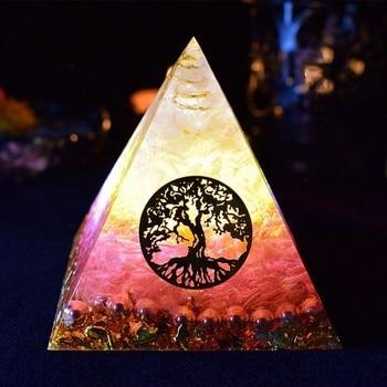 AURA REIKI Orgonite Pyramid Ariel Maripura/Sahasrara Chakra Love Crystal Bring Lucky Stone Resin Crafts Ornaments C0145