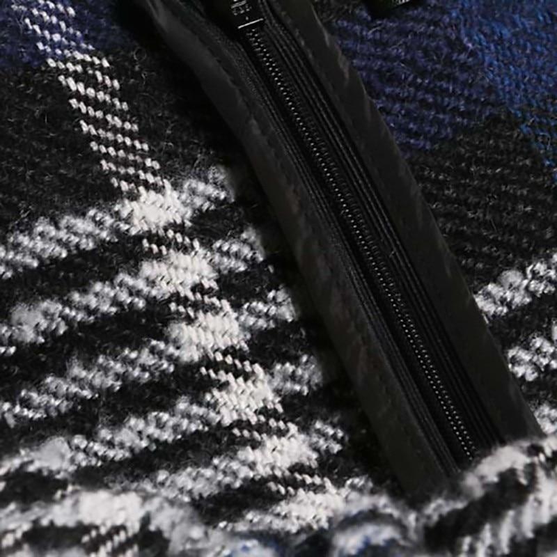 Blue 2019 Del Allentato Inverno Modo Plaid Girocollo Delle Vestito Maniche Primavera Punto Senza Ruffles Marea Di Nuovo Jk2860 Donne eam Stampato Blu B1vdq1