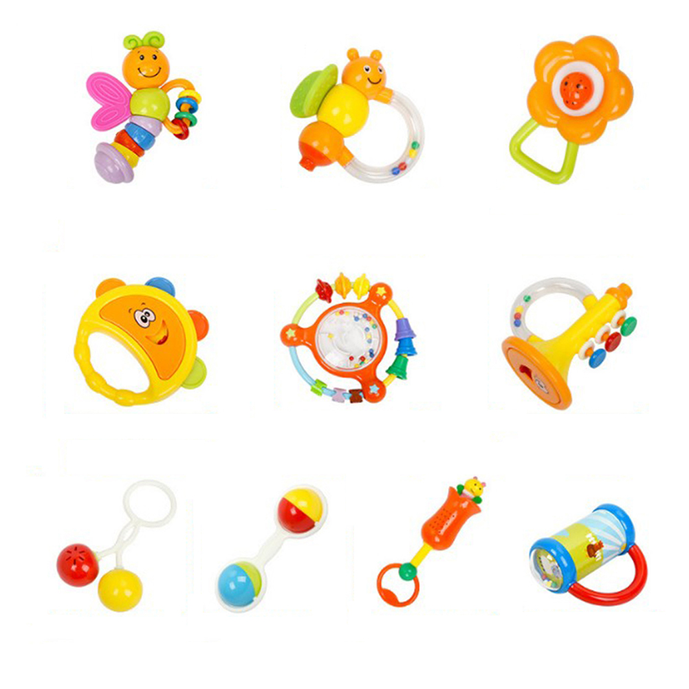 Soft Cloth Doll Rattle Toy Grasp Ball Rattles Toy Hand Baby Plush Bell Toys FI