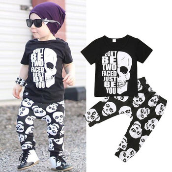 Toddler Kids Baby Boy Clothes Set Skull T Shirt Tops Harem Pants Leggings Outfits Clothes Boys Clothing Sets, Toddler Boy Suit Set, Newborn Baby Boy Sets, Baby Boy Outfit Sets