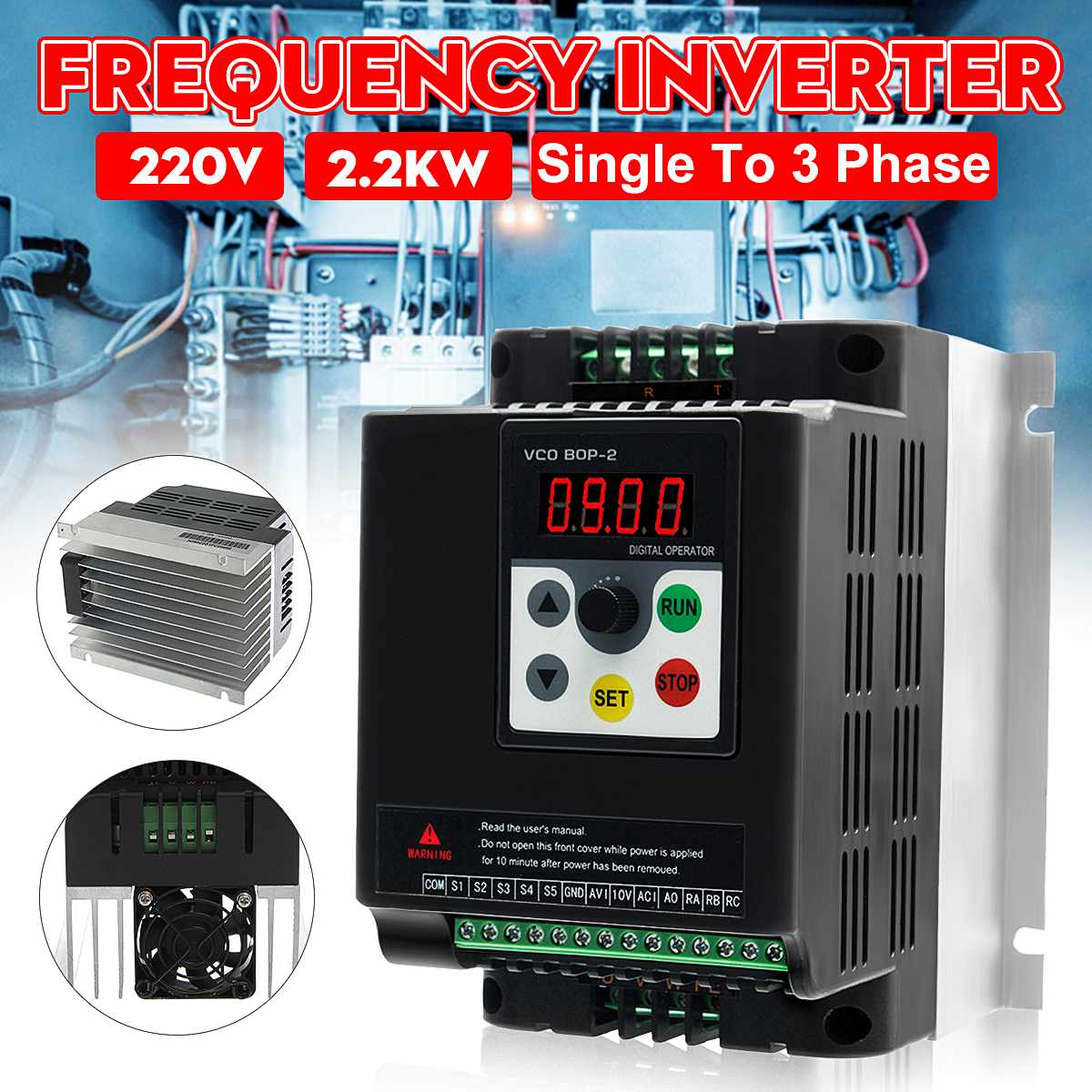 2.2KW 220V Variable Frequency Inverter Converters Single Phase Input Three Phase Output2.2KW 220V Variable Frequency Inverter Converters Single Phase Input Three Phase Output