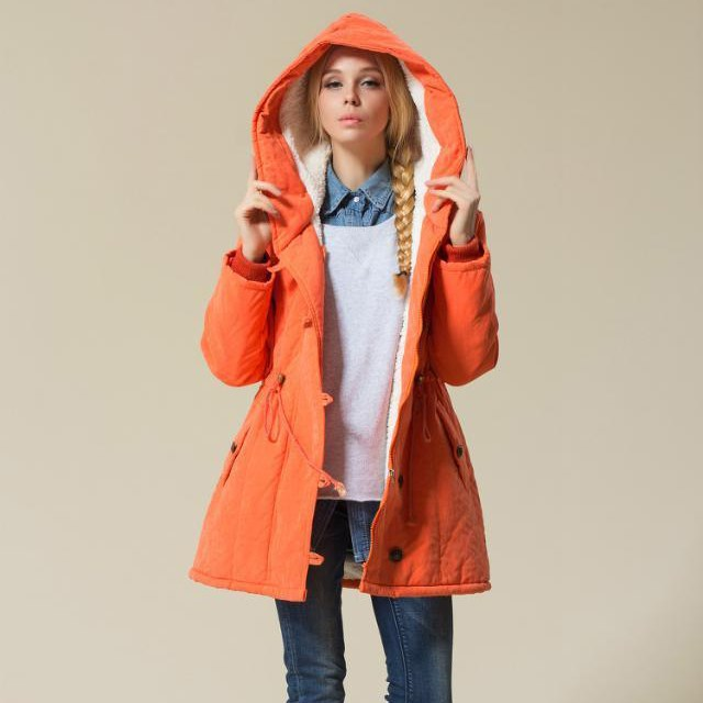 De Manteau Hiver Manteaux vert Outwear Femmes Mince Parkas Capuchon La Grande bleu Taille orange Mode Noir À Décontracté Féminine Veste nfAq6tfXW