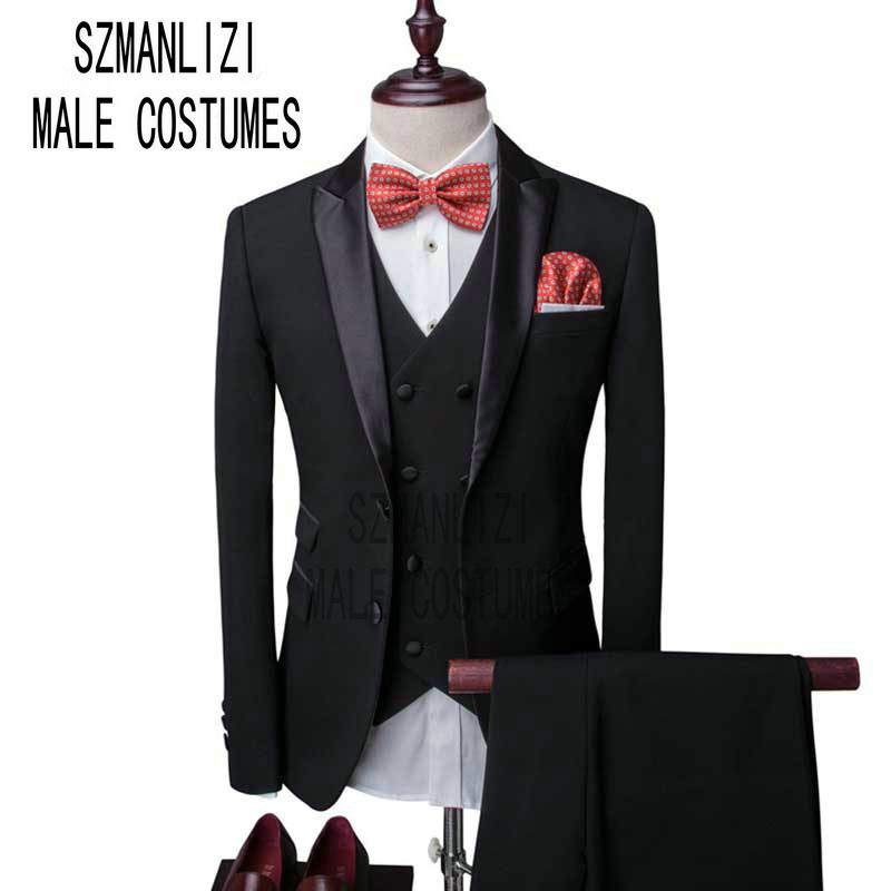 Men Wedding Suits 2019 New Design Terno Slim Fit Real Groomsmen Black Groom Suit Mens Tuxedo Blazer Wedding/Prom Suits 3 Pieces