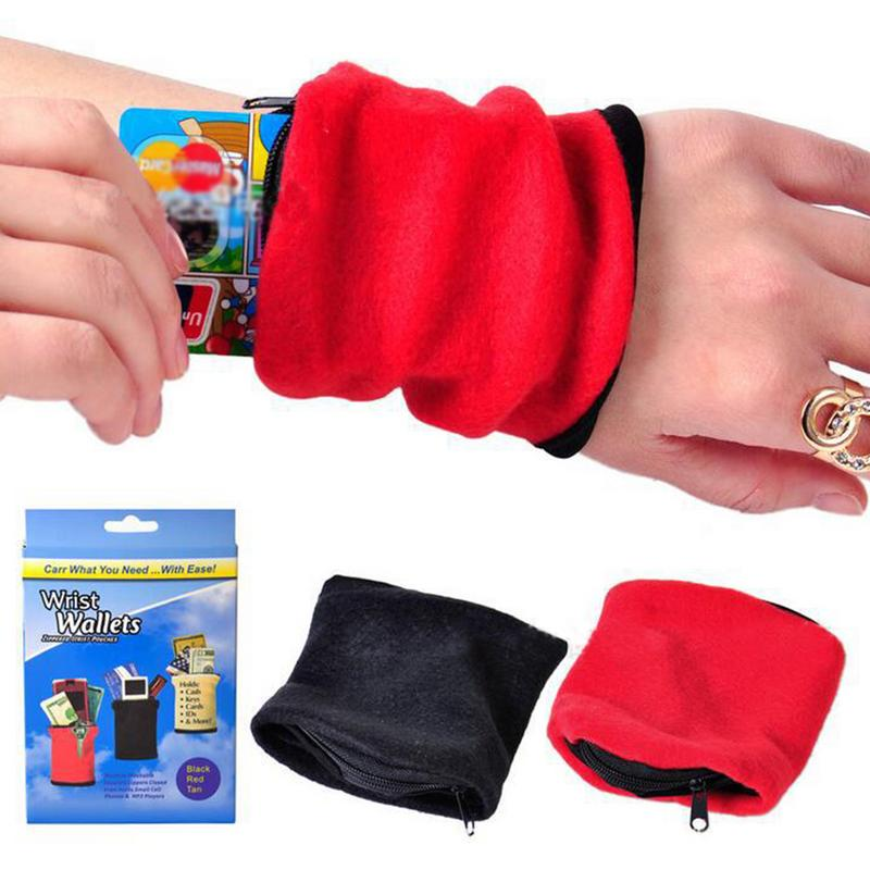Running Bag Zipper Wrist Wallet Pouch Sports Arm Band Bag Wrist Bag For MP3 Key Card Storage Case Basketball Wristband Sweatband