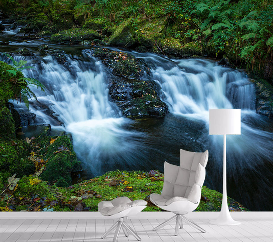 8d Crystal Silk Mural Nature Photo Wallpaper 3d Contact Wall Paper Papers Home Decor Wallpapers For Living Room Waterfall Art