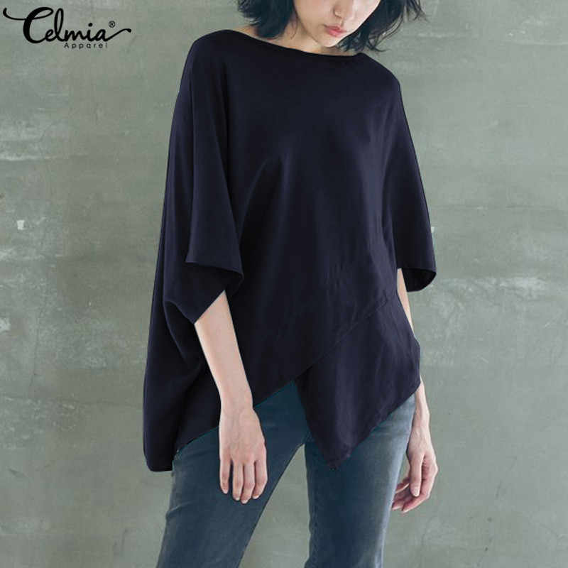 b9788d5f Celmia Vintage Oversized Women Blouses 2019 Summer Tops Casual Batwing  Sleeve Irregular Hem Loose Blusas Femme