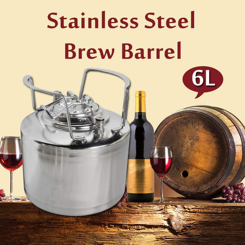 Brand New Beer Keg 6L 304 Stainless Steel Ball Lock Cornelius style Barrel Closure Lid with Pressure Relief Valve Metal HandlesBrand New Beer Keg 6L 304 Stainless Steel Ball Lock Cornelius style Barrel Closure Lid with Pressure Relief Valve Metal Handles