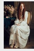Vintage Sexy Sleepwear Women Cotton Medieval Nightgown White V neck Queen Dress Night Dress Lolita Princess Home Dress