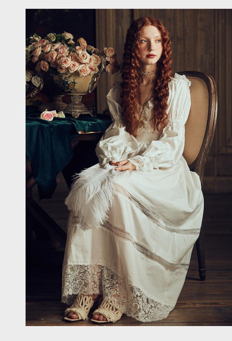 Vintage vêtements de nuit sexy femmes coton médiéval chemise de nuit blanc col en v reine robe robe de nuit Lolita princesse robe de maison