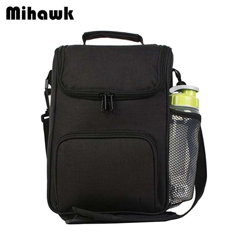 Mihawk Black Cooler Lunch Tote Men Picnic Thermo Cooler Shoulder Bag Insulated Ice Box Fresh Keeping Bento Container Accessories